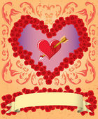 Vintage Valentine card — Stock Vector