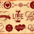 Set of vintage Valentines Day labels — Stock Vector