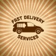 Delivery vintage label with car - Stok Vektr