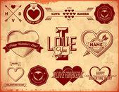 Set of vintage Valentines Day labels — Stock Vector