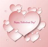 Tarjeta del día de San Valentín con corazones de papel — Vector de stock