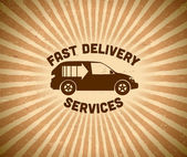 Delivery vintage label with car — Stock Vector