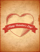 Aged vintage Valentines Day card — Stock Vector