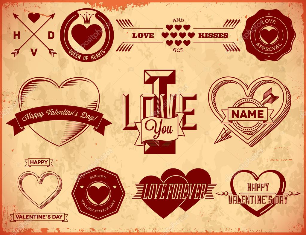 Set of vintage Valentines Day love labels — Stock Vector #19486447