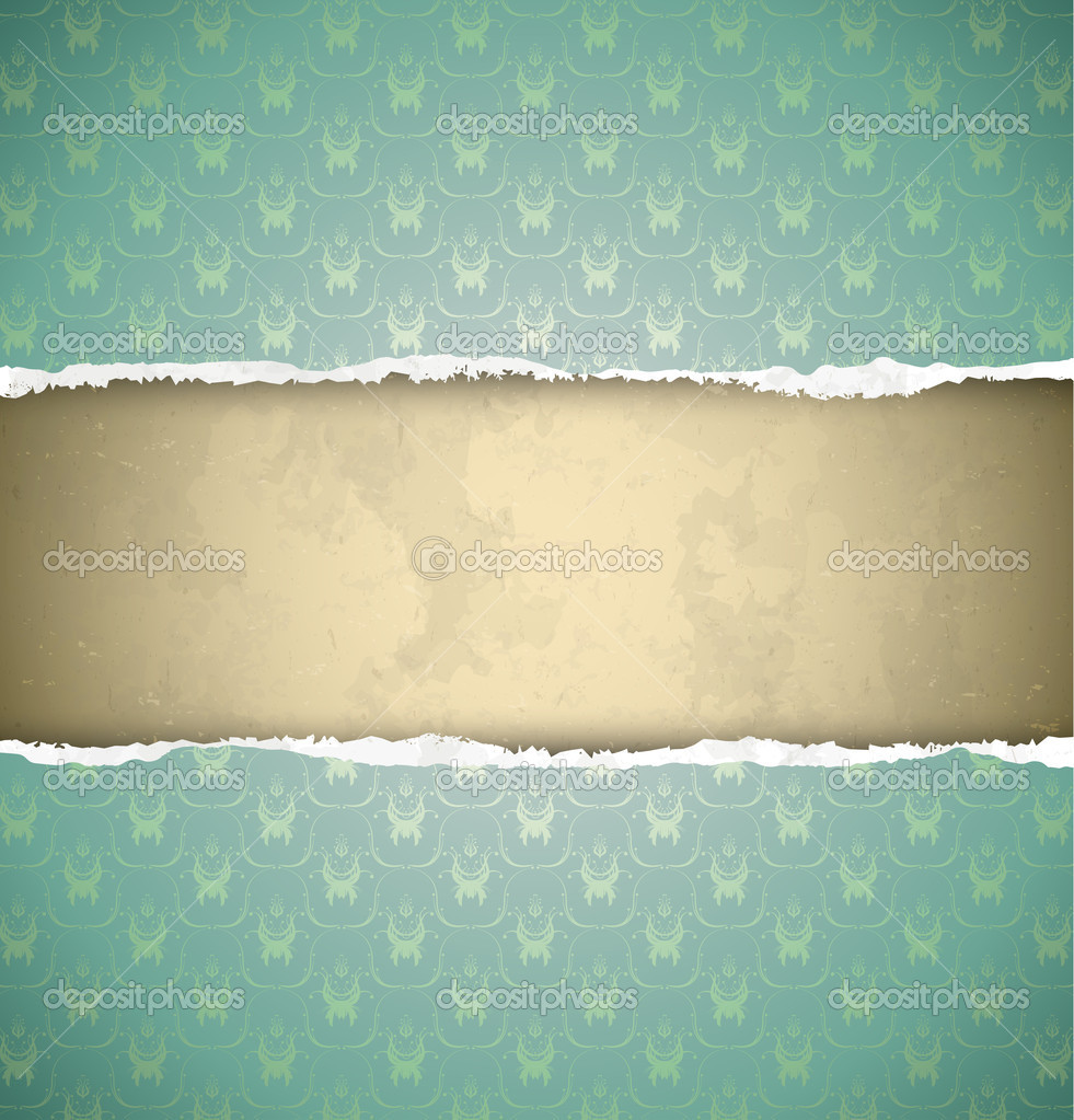 Green ornamental vintage wallpaper torn as a frame — Stock Vector #19486481