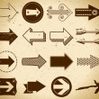 Set of vintage arrows - Stock Vector