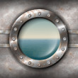 Rusty porthole with seascape — Stock Vector