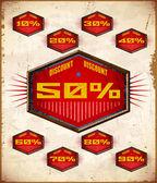 Conjunto de etiquetas vintage con un por ciento de la venta — Vector de stock