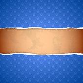 Torn blue ornamental wallpaper — Stock Vector