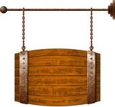 Barrel shaped wooden signboard — Stock Vector