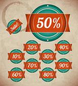 Set of retro sale labels — Stock Vector