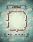 Telaio stropicciata vintage con nuvole — Vettoriale Stock