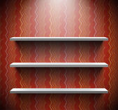 Three shelves on brown wall — Stock Vector