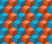 Colorful drawing styled cubes pattern — Cтоковый вектор