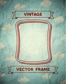винтажная рамка гладкая с облаками — Cтоковый вектор