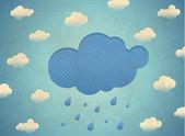 Vintage tarjeta envejecida con nubes de lluvias — Vector de stock
