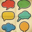Vintage speech bubbles on the cardboard — Stock Vector