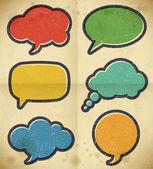 Vintage speech bubbles on the cardboard — Stock Vector