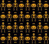 スケルトン、カボチャ、コウモリのシームレスなパターン — ストックベクタ