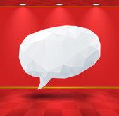 White geometric speech bubble in the room — Stock Vector