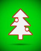 つまらないものとクリスマス ツリーをカット付きカード — ストックベクタ