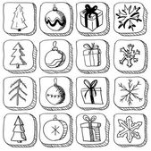 Set of christmas sketch icons — Stock Vector