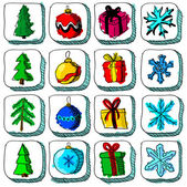 Set of colorful Christmas sketch icons with baubles and gifts — Stock Vector