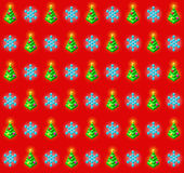 Pattern with glowing christmas trees and snowflakes — Vettoriale Stock