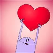 Día de san valentín tarjeta con carácter de corazón — Vector de stock
