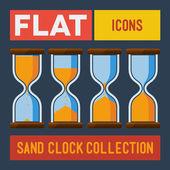 Set of flat sand clocks — Stock Vector