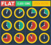 Set of vintage flat clocks — Stock Vector