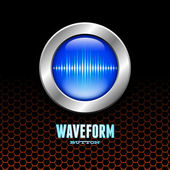 Silver button with sound wave sign — Stock Vector