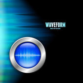 Silver button with sound wave sign and polar light — Stock Vector