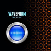 Silver button with sound wave sign on unusual grid — Stock Vector