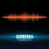 Orange shiny sound waveform on hex grid — Stock Vector