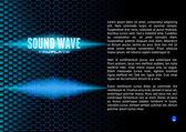Blue sound waveform on hex grid for booklet — Stock Vector