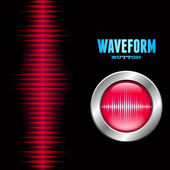 Silver button with sound waveform sign — Stock Vector