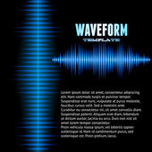 Blue shiny sound waveform background — Stock Vector
