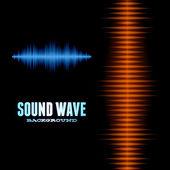 Blue and orange shiny sound waveform background — Stock Vector