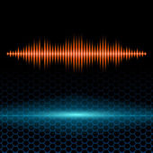 Orange shiny sound waveform on hex grid — Stock Vector