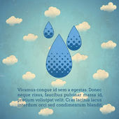Aged vintage card with rain drops — Stock Vector