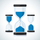 Blue business styled sand clock icons — Stock Vector