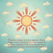Vintage tarjeta con sol — Vector de stock