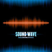 Blue and orange shiny sound waveform background — Stock Vector