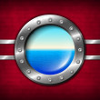 Ship porthole with seascape — Stock Photo