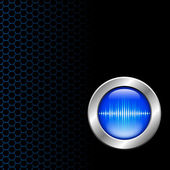 Silver button with sound wave sign — Stock Photo