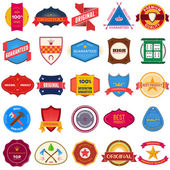 Big set of flat colored vintage labels — Stockvector