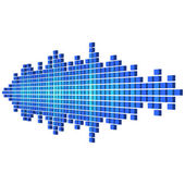 Perspective blue sound waveform made of cubes — Stock Vector