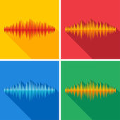 Set of flat music wave icons — Stock Vector