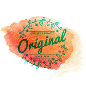 Vintage label with vector watercolor background — Stock Vector